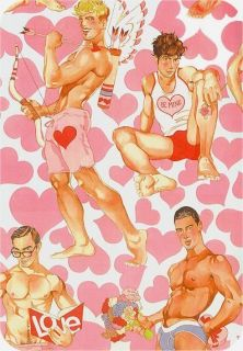 Alexander Henry Look Of Love Pink Hearts on White Pin Up Men Fabric 3