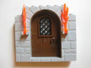 Castle DOOR Gray Frame With Brown Door and Flames DUNGEON Harry Potter