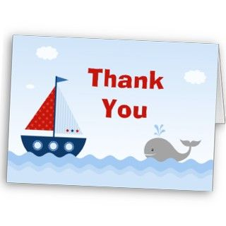 Boat Baby Shower Thank You Card