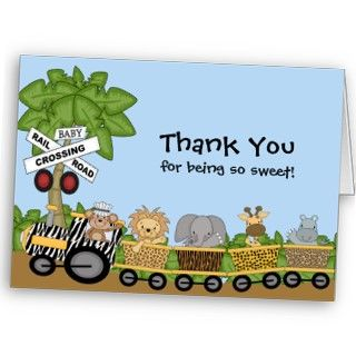 Its a Jungle Baby Train Baby Shower Thank You Cards