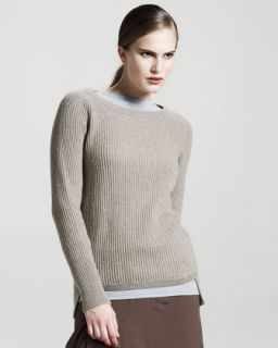 Brunello Cucinelli Ribbed Cashmere Sweater, Oatmeal