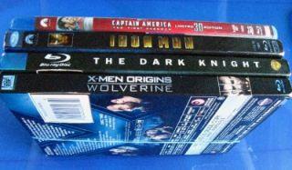 Lot of 4 Blu Ray Movies Capitan American 3D Iron Man The Dark Knight x