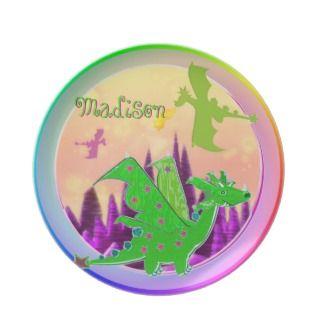 Dragón verde lindo con Madison conocida adaptable Platos Para Fiestas