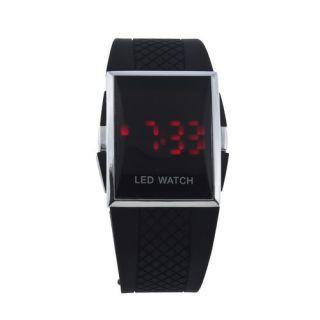 Women Men Girl Red LED Digital Wrist Sport Watch Wristwatch PU Leather