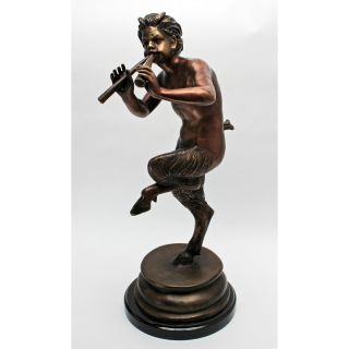 Gallery Quality Lost Wax Bronze Pan Horned Forest Greek God Marble