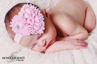 Heart Shaped Rosette Flowers Rhinestone Headband Bow for Newborn, Baby
