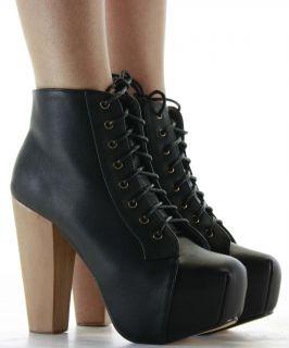 Ladies Shoes Block heeled Booties High Heel Platform Lace Zip Ankle