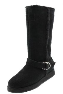 Guess New Haverhill Black Suede Faux Fur Mid Calf Pull on Casual Boots