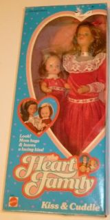 Vintage 1986 Mattel HEART FAMILY KISS & CUDDLE Mom +Baby Doll Mint in