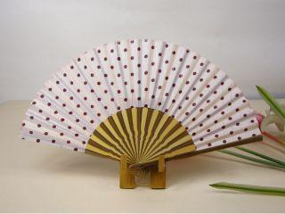Purple Polka Dot Cotton Curved Skeleton Hand Fan