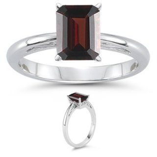47 Cts Garnet Solitaire Ring in 18K White Gold 3.0 Jewelry