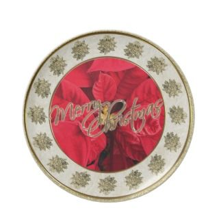 Red Poinsettia Gold Merry Christmas Plate
