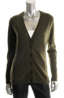 Hayden New Green Cashmere V Neck Tank Inset Cardigan Sweater Top s