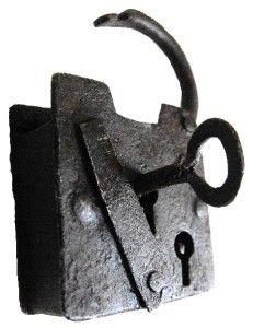 Iron Rustic Working Pad Lock Secret Hidden Key Hole Circa 1800s