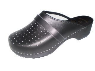 Genuine Black Leather Wooden Sole Swedish Style Clogs Womens Mens All