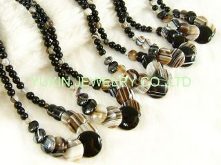 Tibetan Heaven Eye Stone Agate Circle Beads Necklace