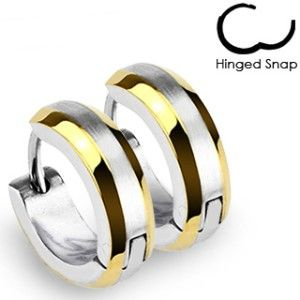 Hoop Earrings Two Tone Gold Plated Brushed Center Hinged Snap