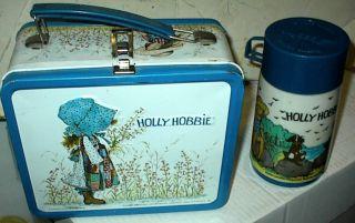 Vintage Aladdin Holly Hobbie Metal Lunch Box w/ Thermos (1975)