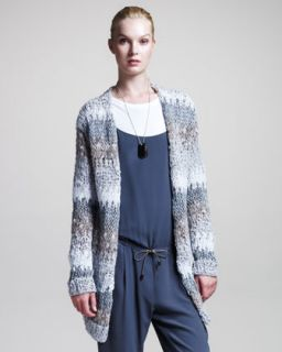 B23PU Brunello Cucinelli Stripe Knit Cardigan