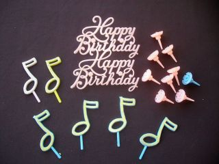 Musical Notes Happy Birthday Cake Topper