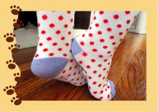 Well Worn Cutie Red Polka Dot Socks Private Auction ♥