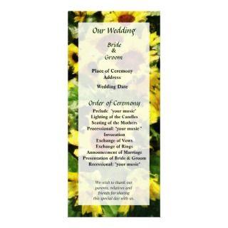 Field of Sunflowers Wedding Program Custom Rack Cards