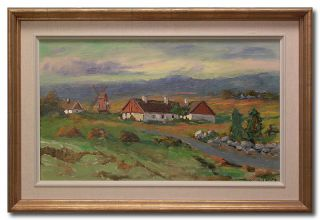 Hjalmar Lindblom Farm Original Swedish Oil Painting