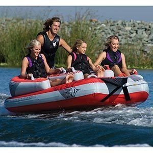 HO Sports Atomic 4 Person Towable Jet Ski Boat Tube Rope Water Fun
