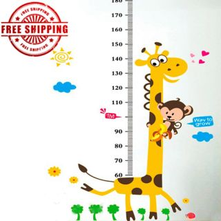 Large Kids Child Height Measurement Cartoon Wall Decals Stickers Vinyl