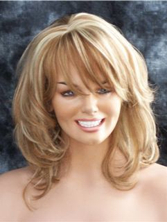 Wigs Strawberry Blonde with Pale Blonde Highlights Wig