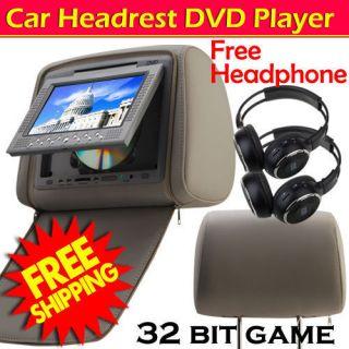 Gray Digital Dual 7Car Pillow Headrest DVD Player USB SD 32 Game 2XIR