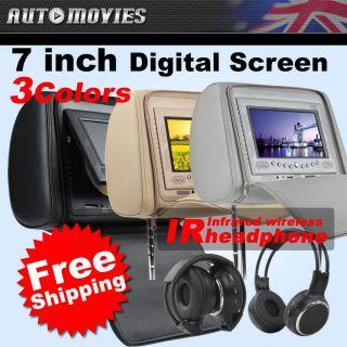 Screen LCD in Car Pillow Headrest DVD Player IR Headphone USB