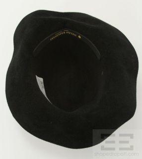 Helen Kaminski Black Felt and Leather Trim Hat
