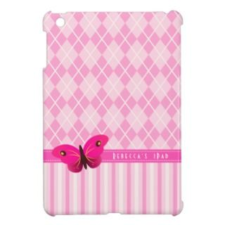 Pink Argyl Stripes Butterfly Girly IPad Mini Cases