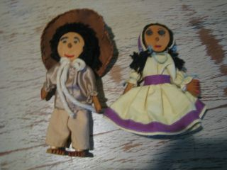 Vintage Wooden Cloth Hillbilly Man Woman Doll