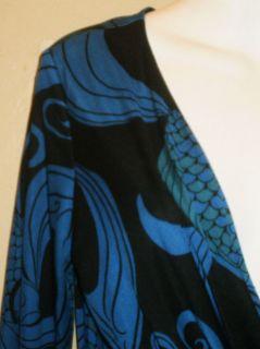 Mara Hoffman Silk Jersey Twist Front Dress Sz L Blue Black
