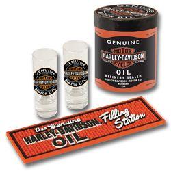 HARLEY DAVIDSON Motorcycles Oil Can Shotglass & Beverage Mat Gift Set