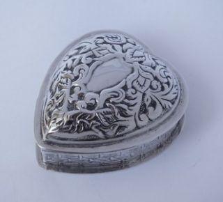 italian 925 silver heart shaped trinket box