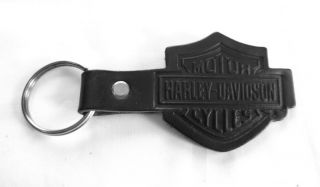 Harley Davidson Black Leather Key Fob Bar Shield Unisex