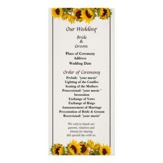 Crowd of Sunflowers Wedding Program Custom Rack Card