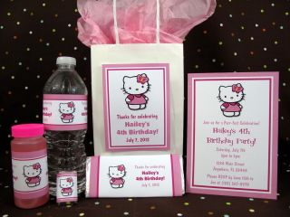 Hello Kitty Flower Birthday PDF CD w Invitation Favors Water Candy Gum
