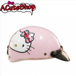 Hello Kitty Motor Bike Helmet Harley Union Jack England Pink Sanrio