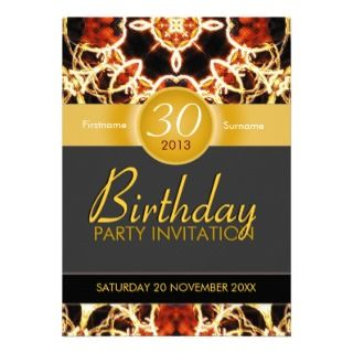 Hawaiian Fire Art Celebration Birthday Invitation
