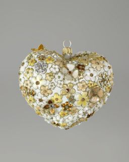 H6L4Z Jay Strongwater Blossom Heart Glass Christmas Ornament