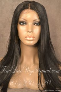Front Lace Synthetic Hair Silky Straight Wig 18 inches Long