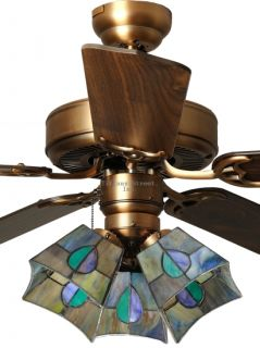 Leaf 3 Light Tiffany Style Stained Glass Ceiling Fan