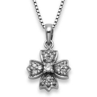 Sterling Silver Cubic Zirconia Cathedral Cross Pendant with 18 Inch