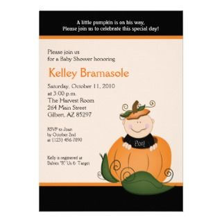 Little Pumpkin Baby Shower 5x7 Invitation