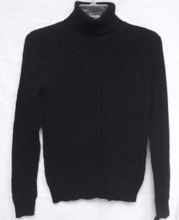 VERTICAL DESIGN Womens Black 100% 2 Ply Cashmere Cable Knit Turtleneck