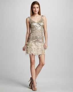 Sue Wong Feather Embellished Cocktail Dress